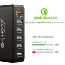 KINGGS 6-Port USB Charging Station Desktop Wall Charger for iPhone iPad Samsung