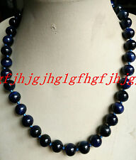 "Beautiful 10mm natural blue Tiger's Eye Round Beads Necklace 18 ""AAA"