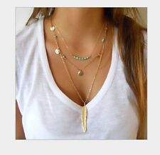 3 Layers Gold Beaded coin Leaf feather Chain Statement Pendant Necklace Gift AG