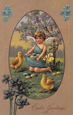 Easter Greetings Angel with Chicks and Eggs Antique Postcard J47114