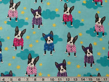 BOSTON TERRIER IN PAJAMAS COTTON FLANNEL FABRIC Dog Puppy  Fat Quarter