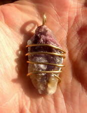 SELF LOVE PURPLE LEPIDOLITE PENDANT AMULET MERLIN'S GOLD CALMING EMOTIONS #2