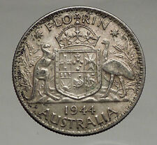 1944 AUSTRALIA - FLORIN Large SILVER Coin King George VI Coat-of-Arms i56696