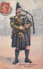 ANGLETERRE ENGLAND ARMY seaforth highlanders pipe major timbrée 1915