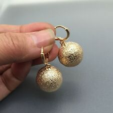 Cute Round Gold Ball Dangle Earrings 18K Gold Plated Fashion Women Lady Jewelry