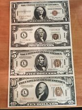 Copy Reproduction 1934 Hawaii Uncut US Currency Sheet Paper Money WWII 1-2-5-10