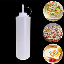 8oz Clear Plastic Squeeze Bottle Condiment Dispenser  Oil Ketchup Mustard Sauce
