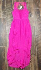 $198 Charlie Jade hot pink silk hi lo Maxi dress size Small NWT