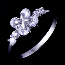 Cubic Zirconia Flower White Gold Filled For Womens Ring Size 6 Free Shipping