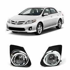 OE Fitment Chrome Clear Fog Lights Driving Lamps Set+Switch 11-13 Toyota Corolla