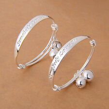 2pcs New Classic  Silver Plated Baby Kid Bell Bangle Bracelet Letter