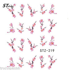 Nail Art Water Decals Decoration Pink Oriental Japanese Flowers Gel Polish (219)