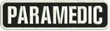 Paramedic embroidery patch 2x8 hook on back white on black