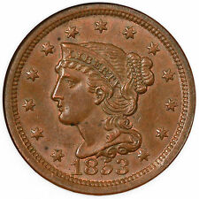 1853 N-15 NGC MS 61 BN Braided Hair Large Cent Coin 1c