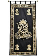Ganesh Tapestry Curtan Gold Print Wall Hanging, Door-Window Curtain NEW