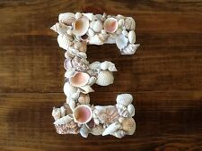 Custom Large White Wood Seashell Letters Coastal Shell Beach Wall Mantle Decor