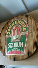 John Smiths  barrel top style  round plaque wooden sign  14inch diameter