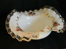 Gorgeous VINTAGE FENTON Silver Crest Bowl w/Hand Painted Cascading ROSES
