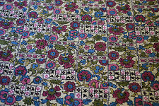 Japanese  Fabric Wool/Silk Pink, Green, Blue Floral Design 1005