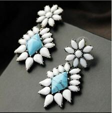 Large Fashion White Turquoise blue Big Diamante Statement Earrings Danglers Drop