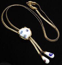 Vintage Mid Century Modernist Venetian White Millefiori Glass Bead Bolo Necklace