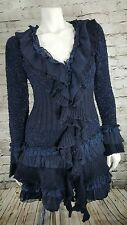 CECICO Navy Blue Cardigan Duster Sweater Ruffled Victorian Steampunk Boho Size M