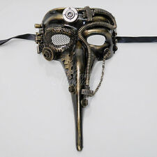Steampunk Plague Doctor Theater Masquerade Mask for Men - Gold M39029