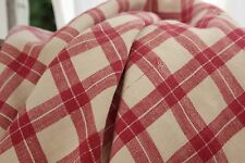 Antique French comforter duvet cover Kelsch linen faded red plaid GORGEOUS soft