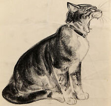 c1940s| DIANA THORNE | original charcoal drawing of yawning CAT | art deco style