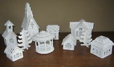 Finished Handstitched Plastic Canvas SNOW VILLAGE ASN 6088 8 Buildings & 2 Trees