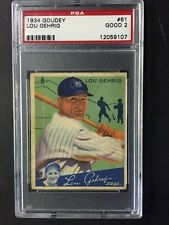 Lou Gehrig 1934 Goudey Card # 61 Psa 2 Way Undergraded Looks Better No Creases