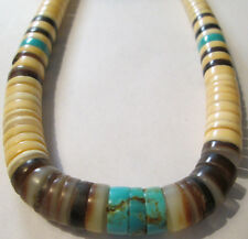 ANTIQUE NATIVE Turquoise & Shell Fine Sequence Necklace