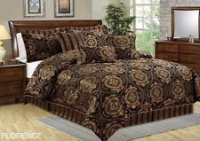 Chezmoi Collection 7-Piece Florence Jacquard Medallion Comforter Set, Queen