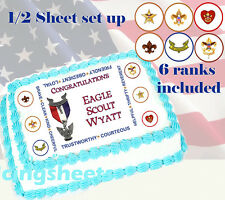 Boy Scout Eagle Scout Court of Honor Edible image cake top Icing sheet 1/2 sheet