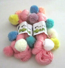 2 skeins of PINK Ella Rae POMPE knitting yarn with colorful POMPOMS color #4
