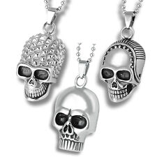 3pcs Wholesale Lot Mix Gothic Skull Stainless Steel Charm Pendants Men Necklaces