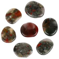 7 piece Africa Bloodstone Plam stone crystal reiki healing with free pouch PS115