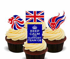 Team GB Edible Cupcake Toppers, Standup Fairy Cake Bun Decorations Olympic Games