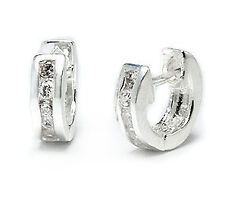 Tiny CZ Ear Huggers Sterling Silver Huggie Hoop Earrings