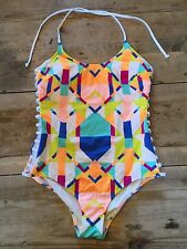 "White Geo~LARGE~Victoria's Secret ""PINK! SUPER STRAPPY CUT OUT"" One Piece VS!"