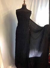 "NEW Gorgeous Designer Black Stretch Chiffon Ruffle fabric 56""140cm Cloth Dress O"