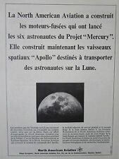 4/1965 PUB NORTH AMERICAN MOTEUR FUSEE MERCURY VAISSEAU APOLLO NASA FRENCH AD