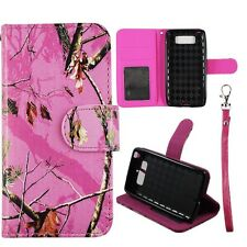 For Motorola Droid mini XT1030 Pink Camo Mozzy  S Leather Wallet Case Cover