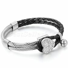 Womens Leather Stainless Steel Bracelet Heart Charm Braided Cuff Bangle