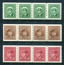 3 different MNH Canada KGVI Perf 8 Coil Strips of 4 #263, 264, 265 (Lot #rn29)