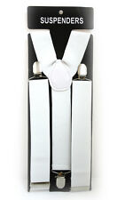 White Adjustable Braces Suspenders Mens Womens Fancy Dress Clip On Slim 3 cm