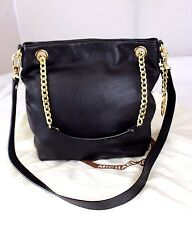Authentic MICHAEL KORS Black Pebbled Leather Chain 2-Way Tote Shoulder Bag Purse