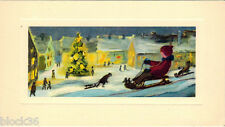 "Vintage card with WINTER SCENE (Children on sledges) like ""matted"" image"