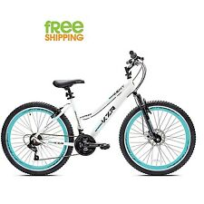 "Kent Mountain Bike 26"" White Women Bicycle Aluminum Frame Disc Brake Shimano New"