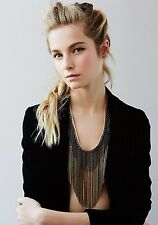 NWT Free People Chain Waves Bronze Layered Necklace